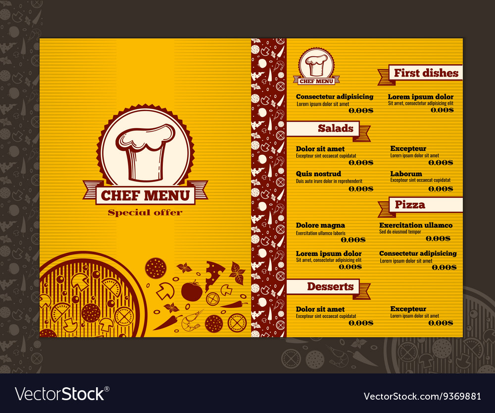 restaurant menu design template mockup royalty free vector