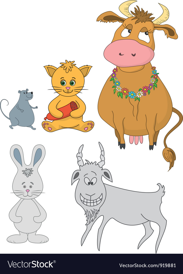 Set cartoon animals vector image