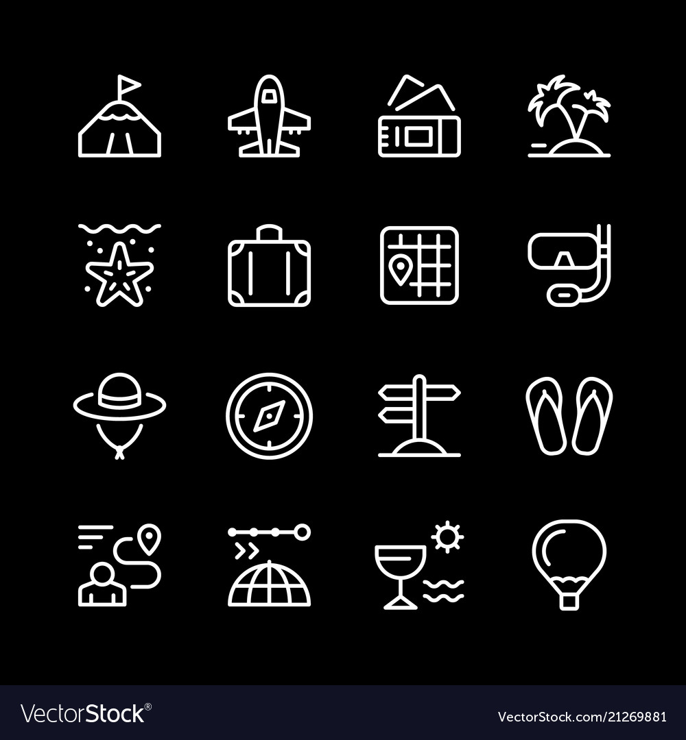 Set line icons of travel