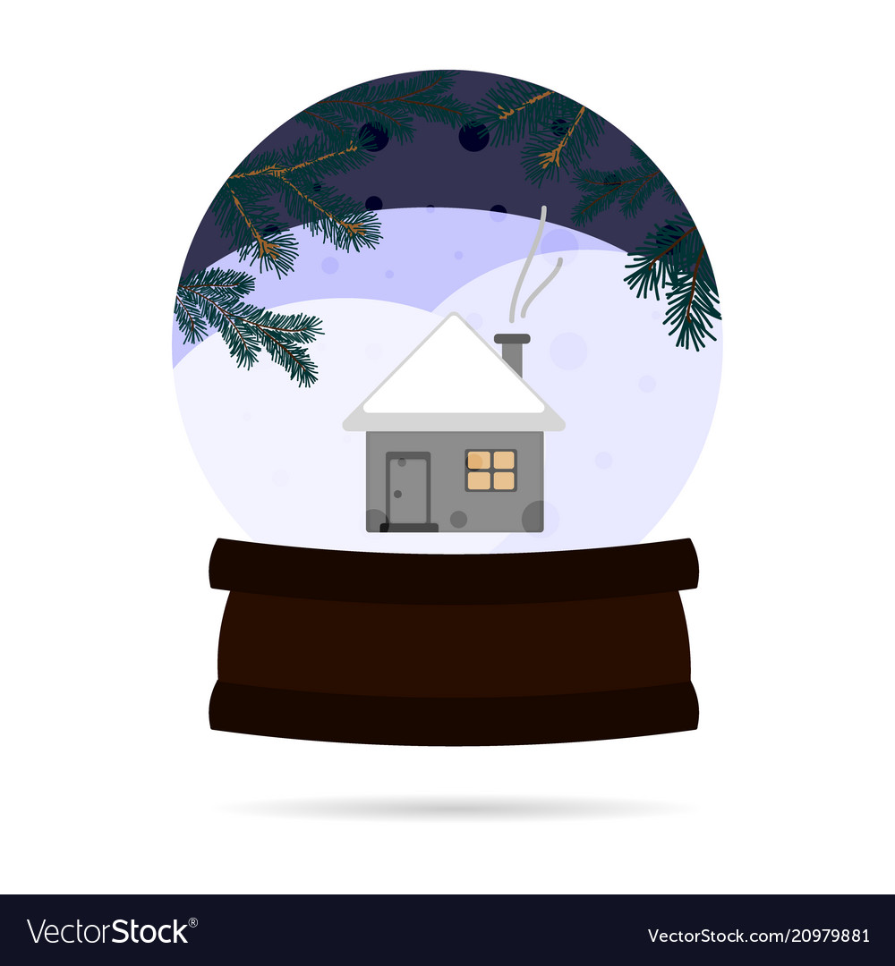 Snow ball with a winter landscape with a house in