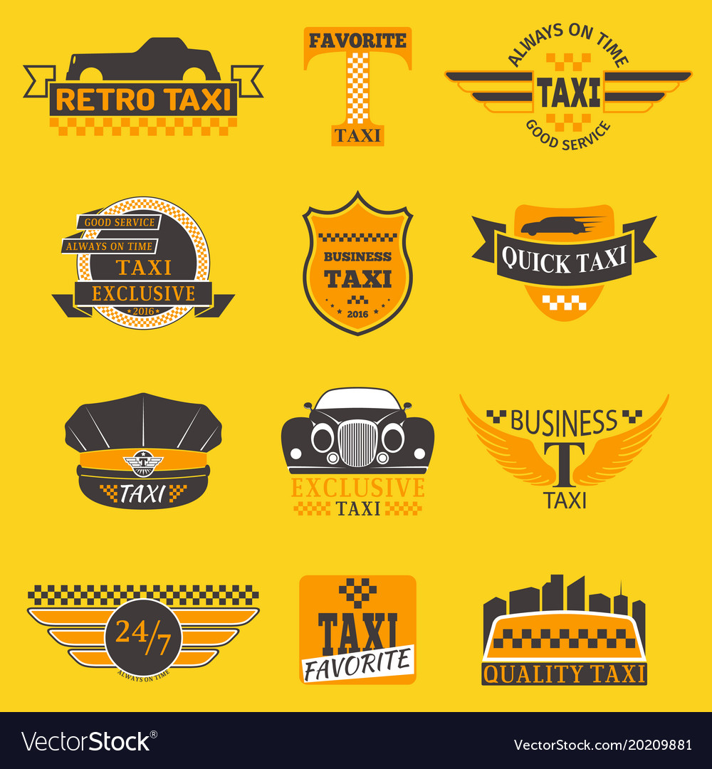 Taxi Logos Label Badge Templates Design Royalty Free Vector