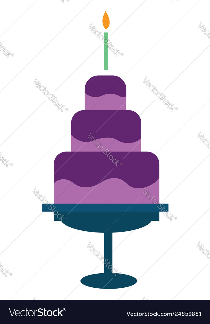 Cool Three Layered Birthday Cake Mounted On A Stand Vector Image Birthday Cards Printable Nowaargucafe Filternl