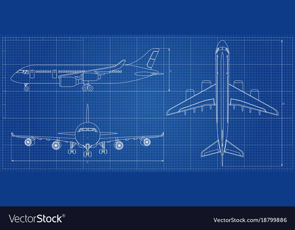 Airplane blueprint outline aircraft on blue Vector Image