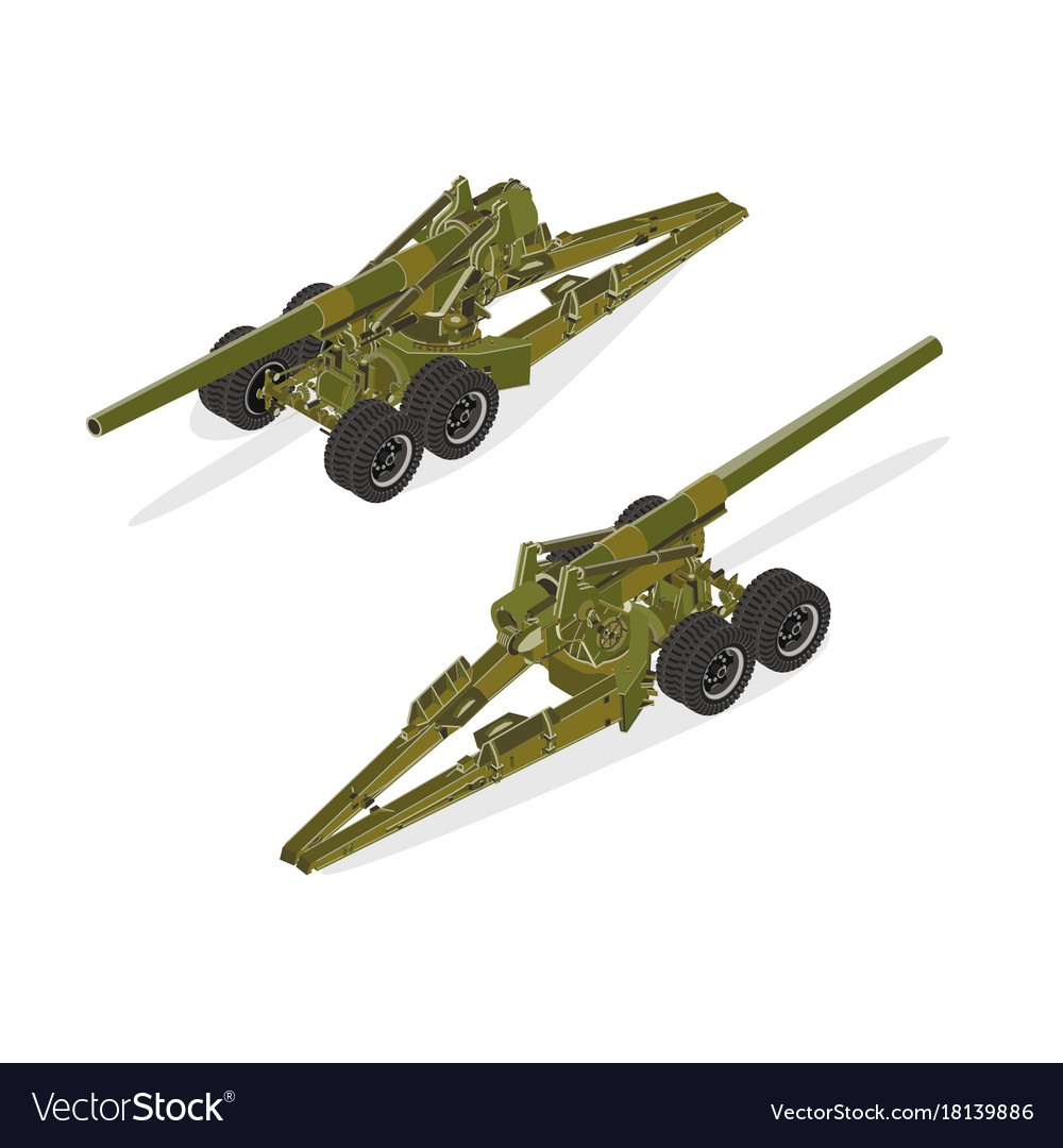 Artillery military isometric army gun war tank vector image