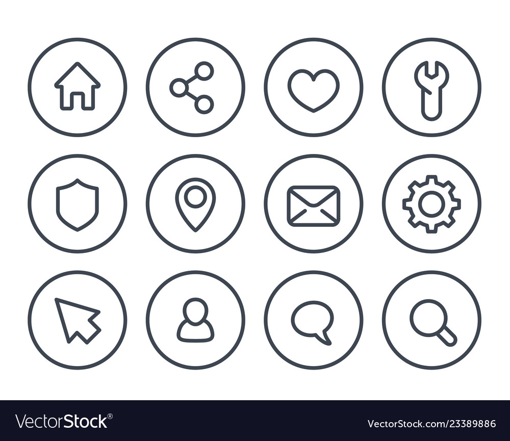 Basic line icons for web and apps