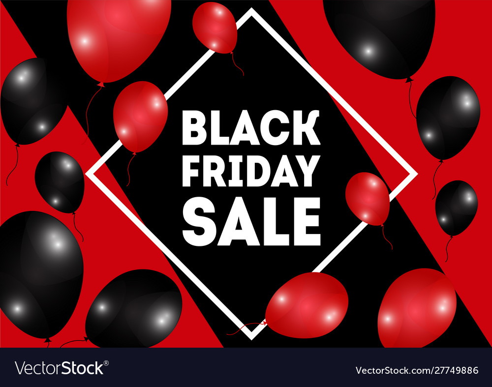 Black friday sale poster with shiny red balloons