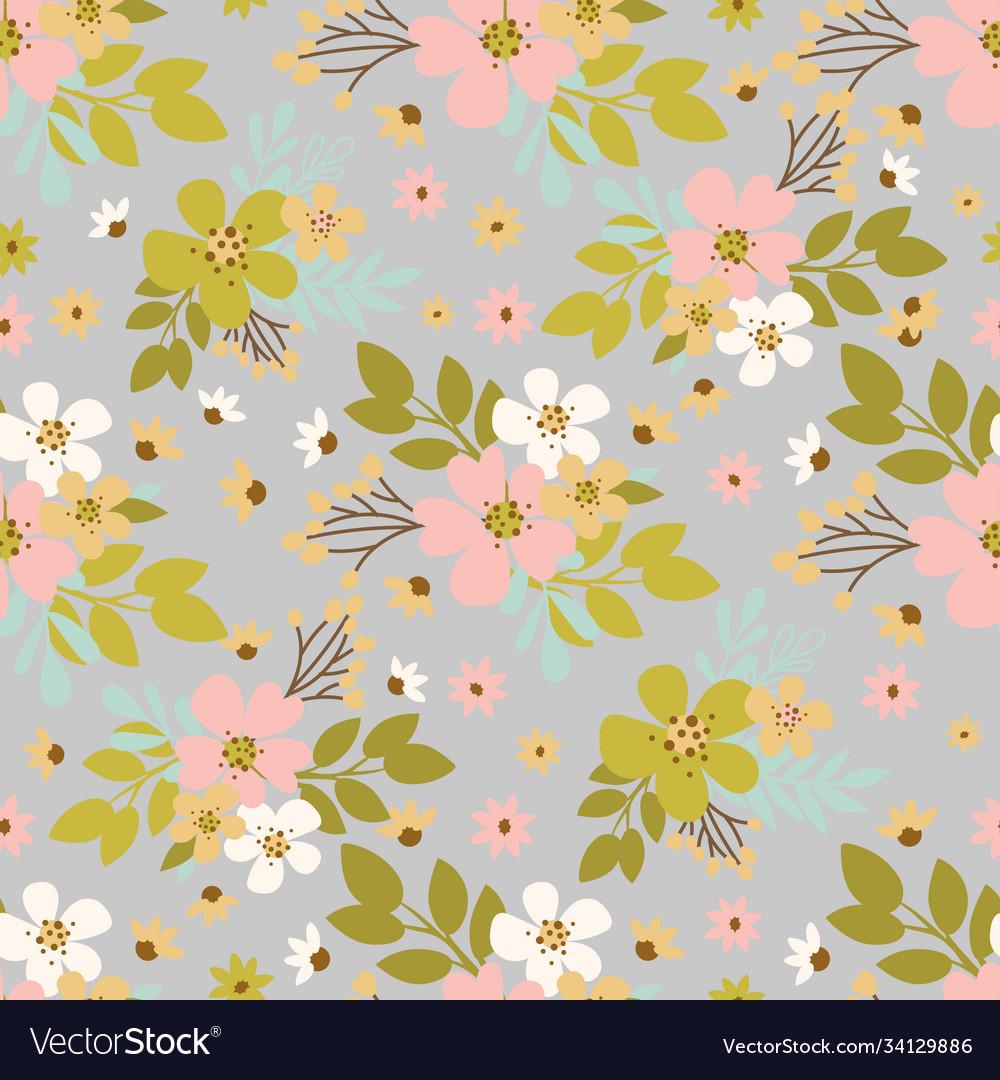 Flower dust hand drawn seamless pattern