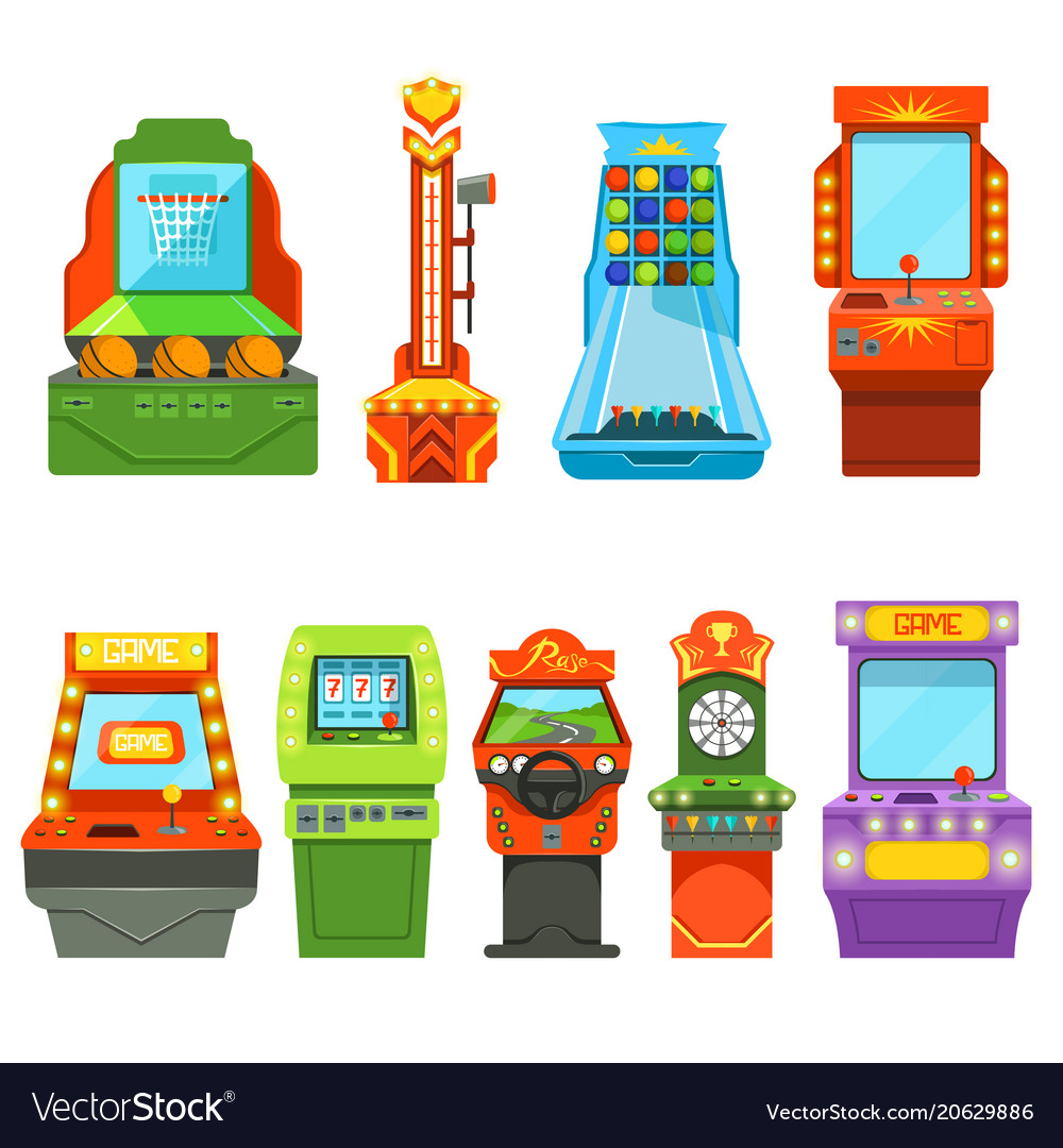 Game machines pictures in cartoon style