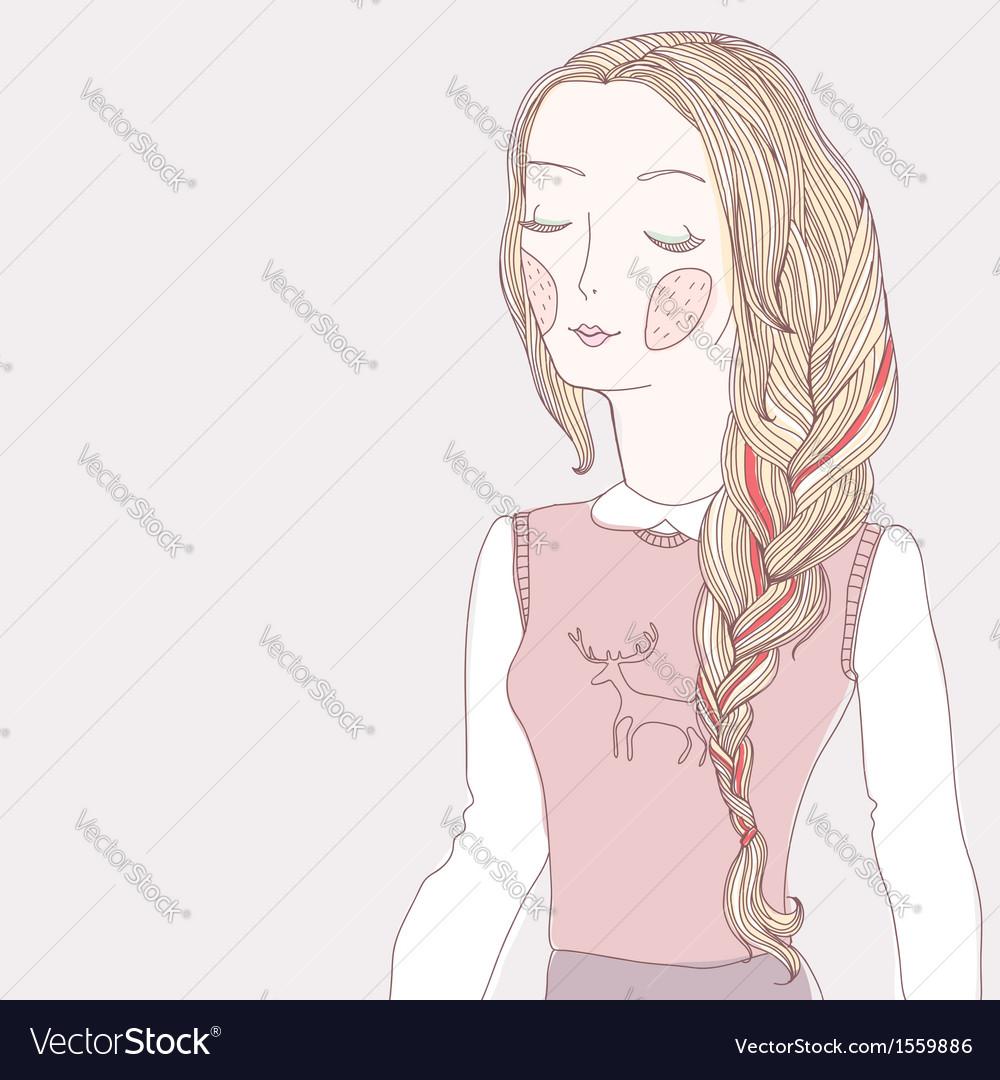 Girl plait pink