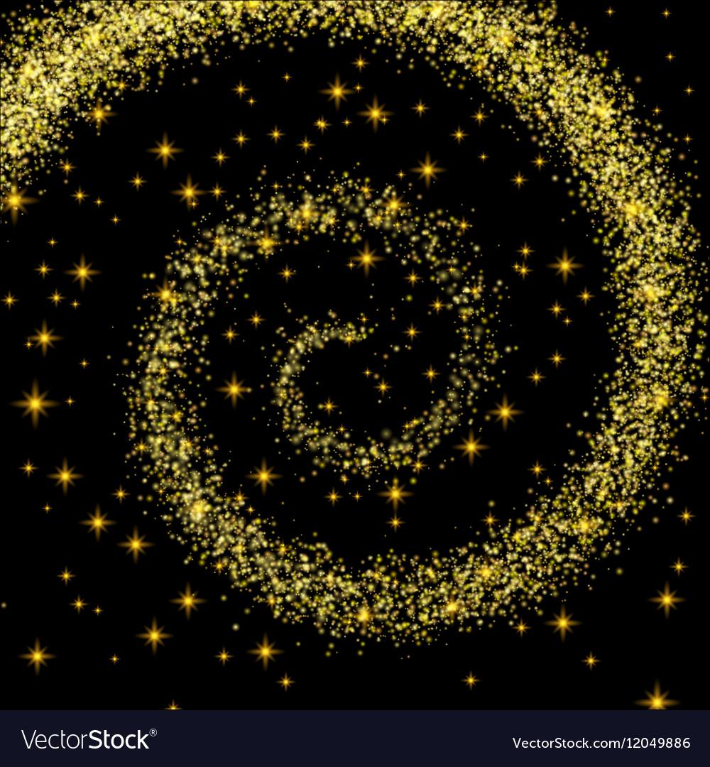 Golden Spiral Spilling Gold Dust on a Black