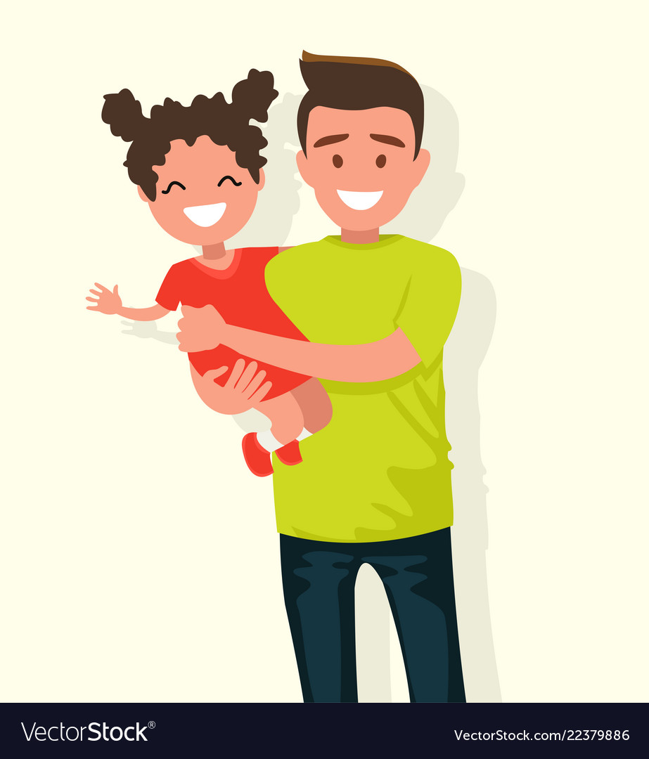 Happy dad keeps daughter in her arms