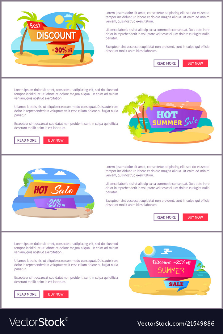 Hot summer sale web pages set with sample text