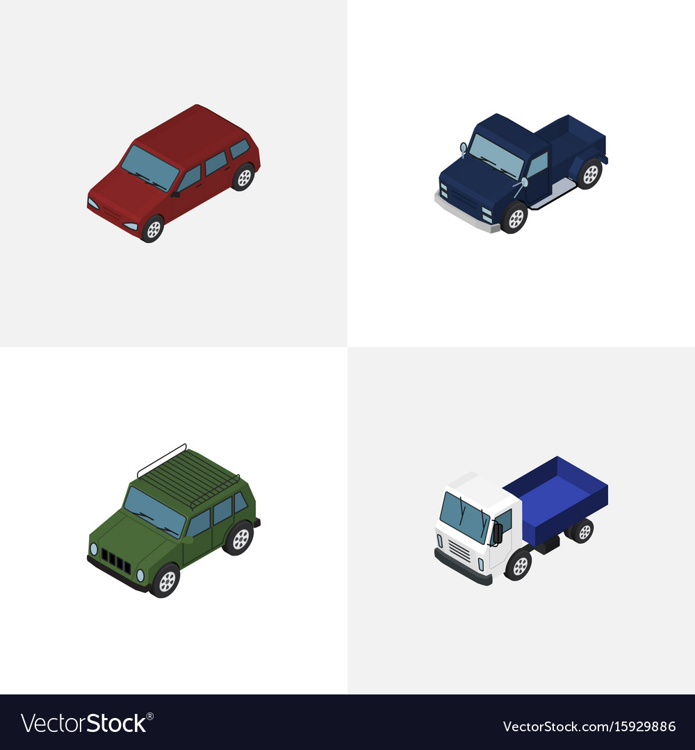 Isometric automobile set of armored lorry car