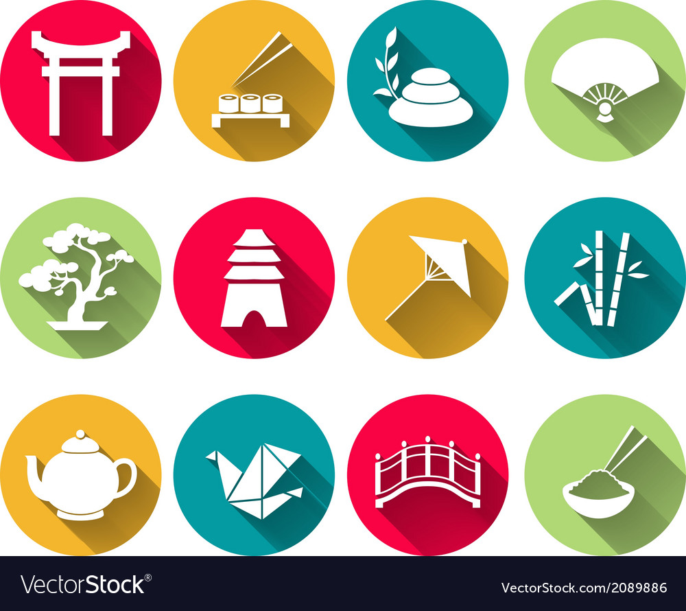 Japanese Icons Set vector image