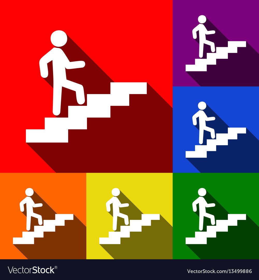 Man on stairs going up set of icons with vector image