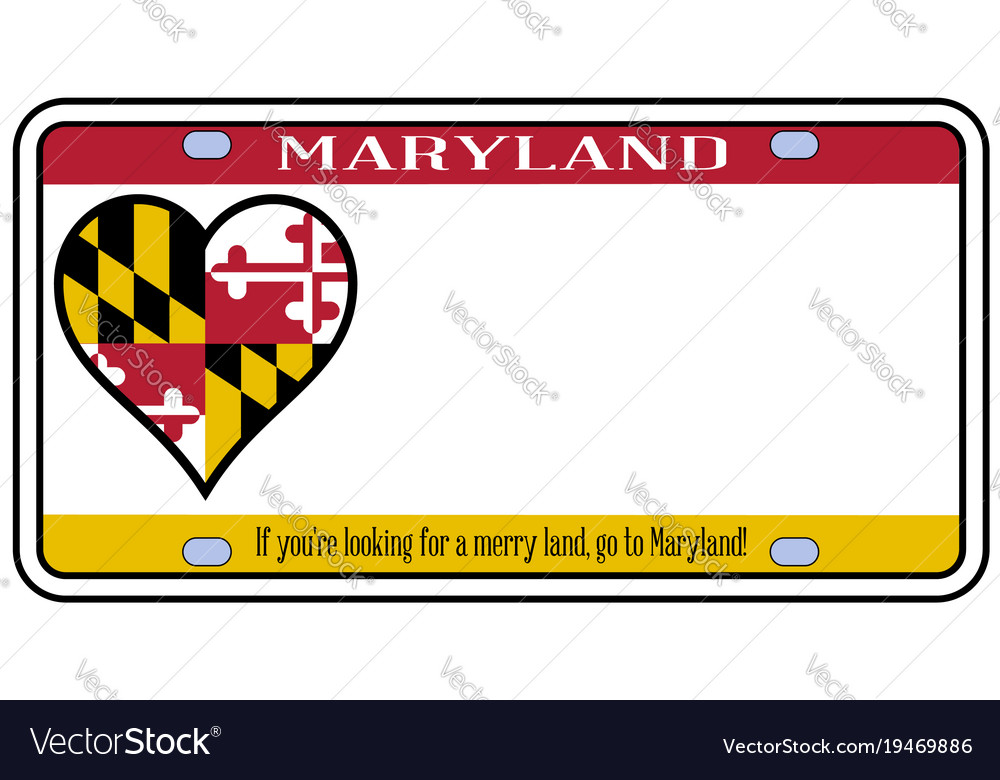 maryland license plate royalty free vector image