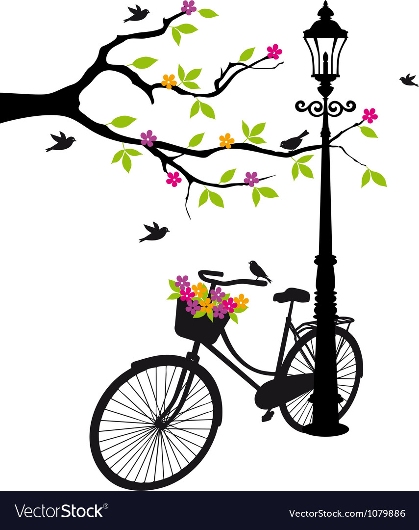054780a5972 Old bicycle with flowers Royalty Free Vector Image