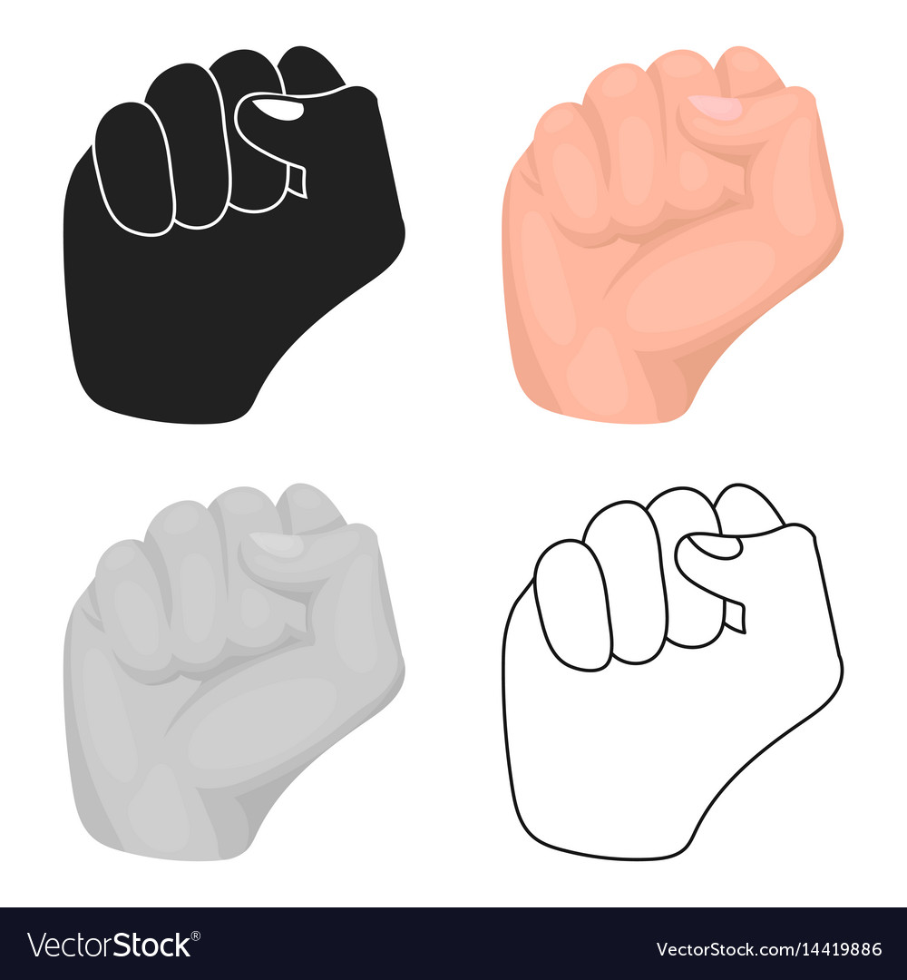 Raised fist icon in cartoon style isolated on vector image
