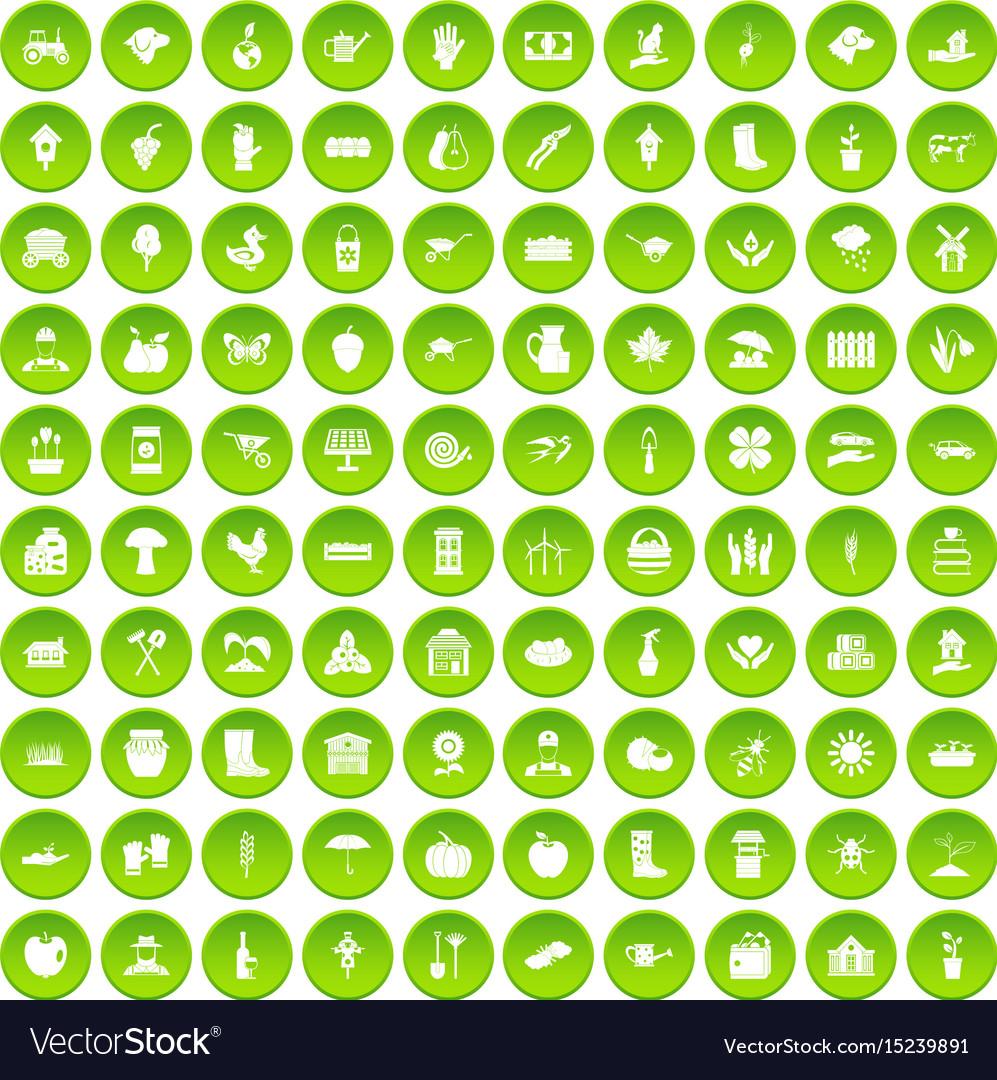 100 farm icons set green circle