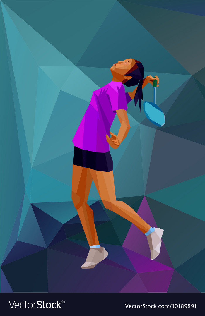 Children sport girl badminton player Color vector image