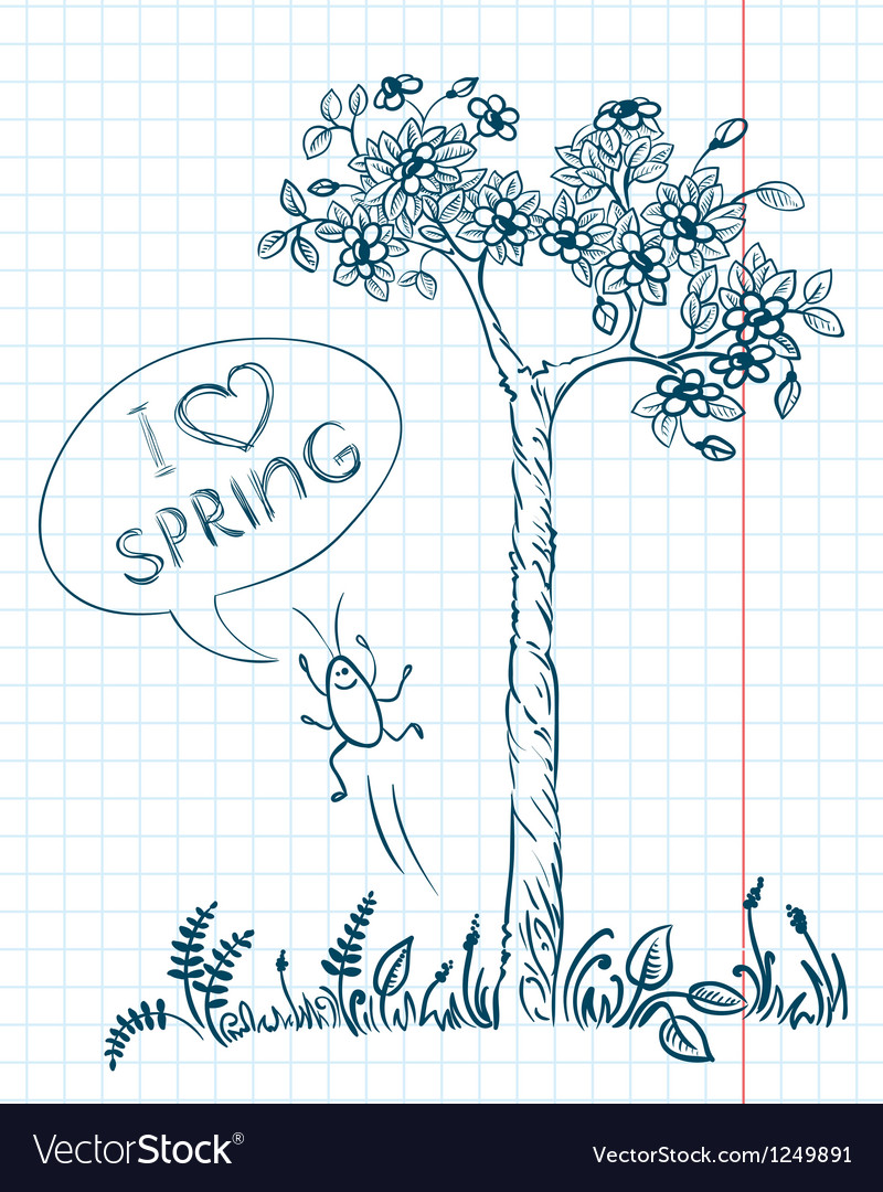 Doodle spring vector image