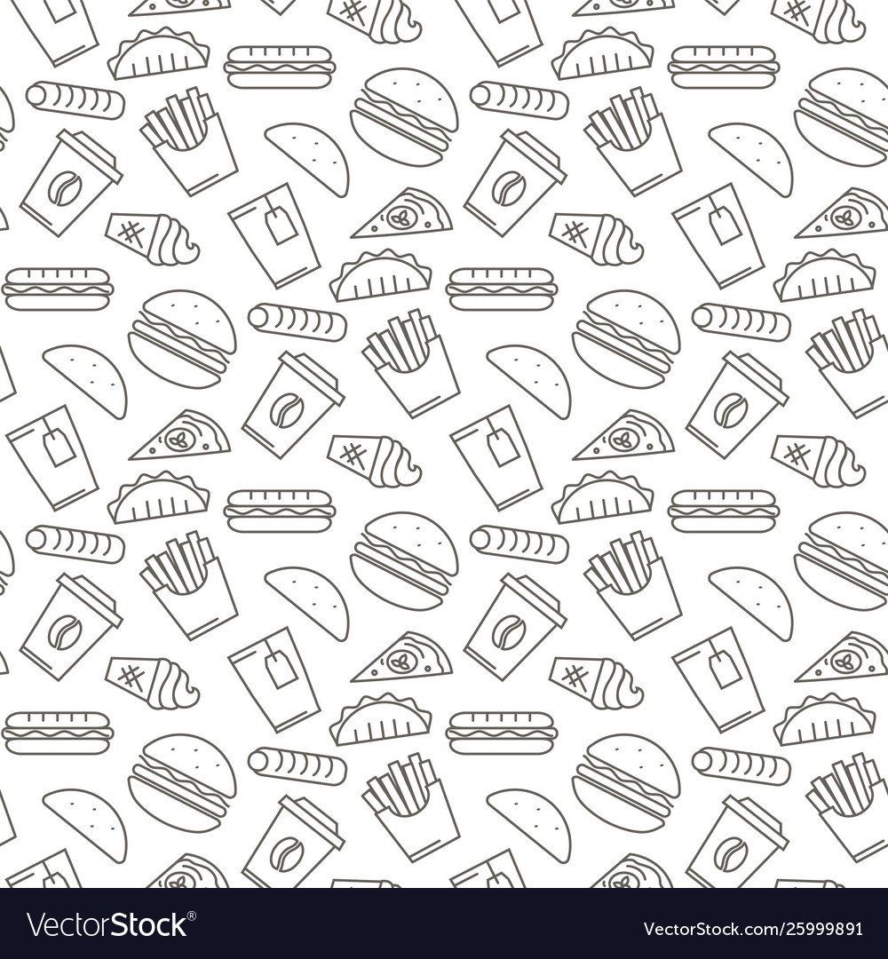 Fast food icons seamless pattern