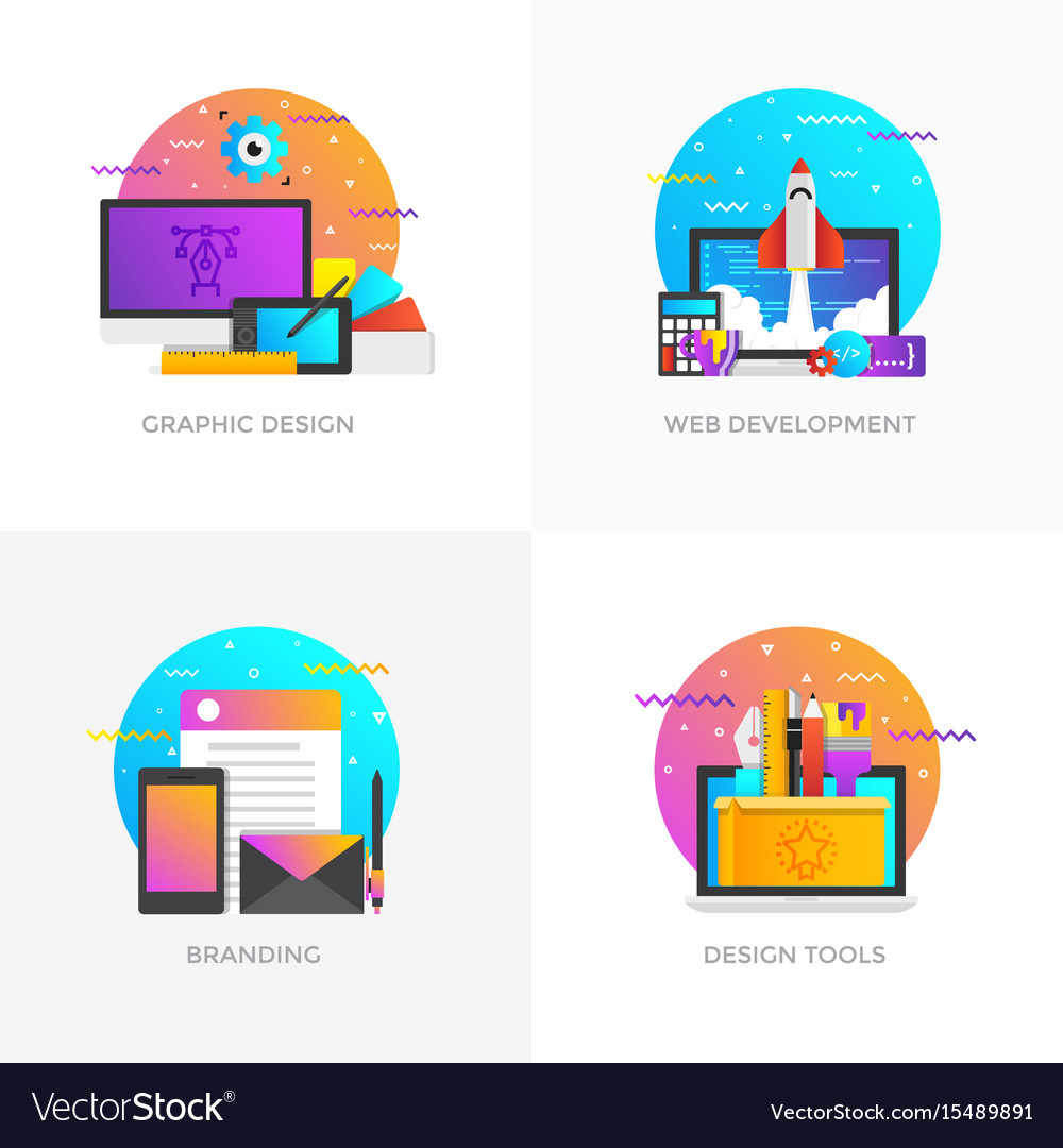 Flat designed concepts - graphic design web