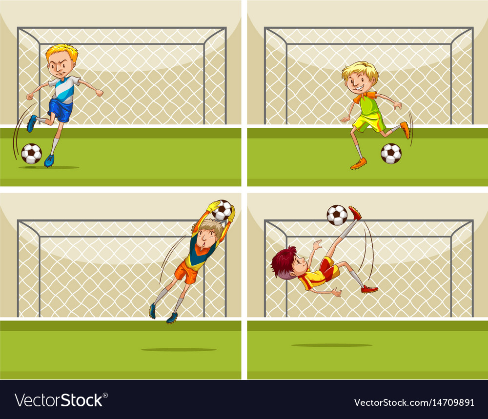 Four football scenes with goalkeeper at goal