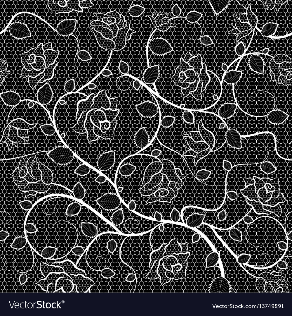 Lace seamless pattern with roses on black