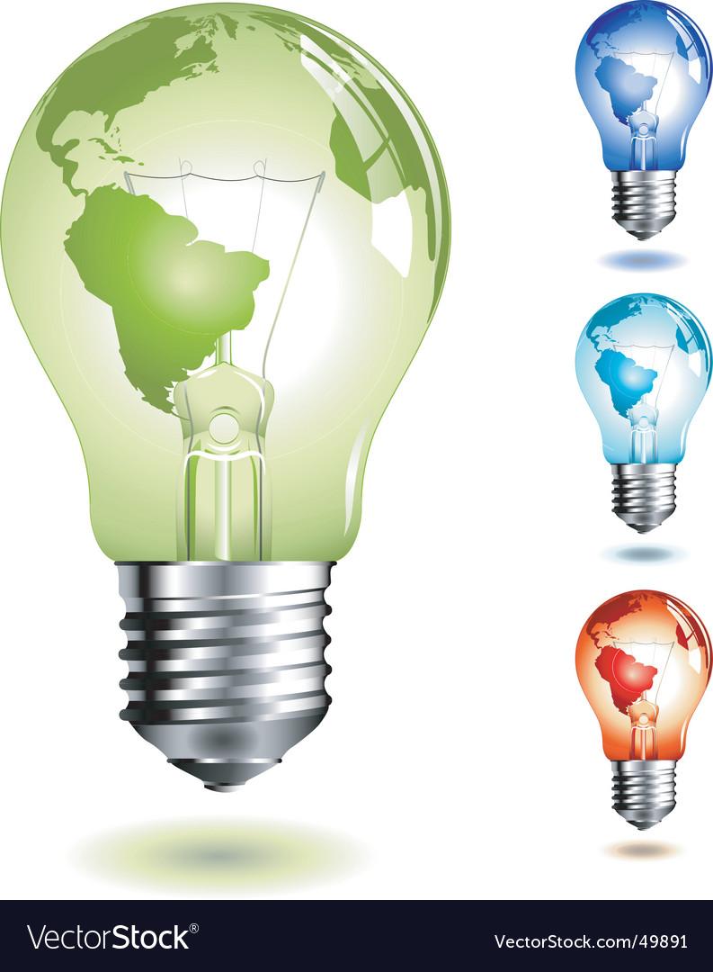 Light bulb with worldmap vector image