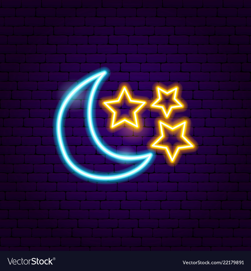 Moon Star Neon Sign Vector Image