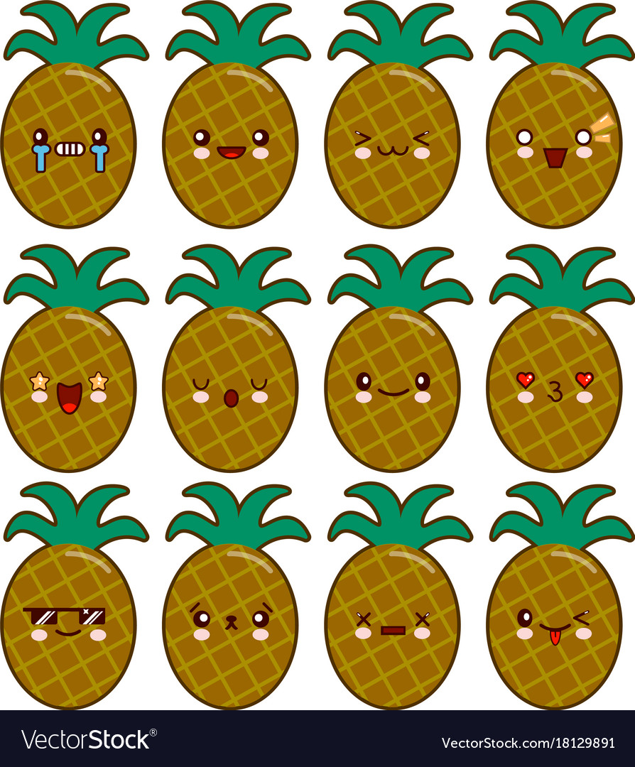 Pineapple cartoon character set with emotions on