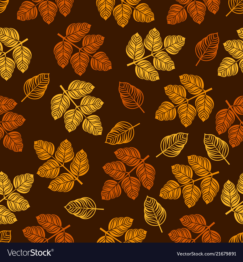 Seamless pattern with colored leaves