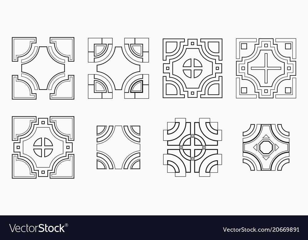 Set of 8 symmetric geometric tile shapes