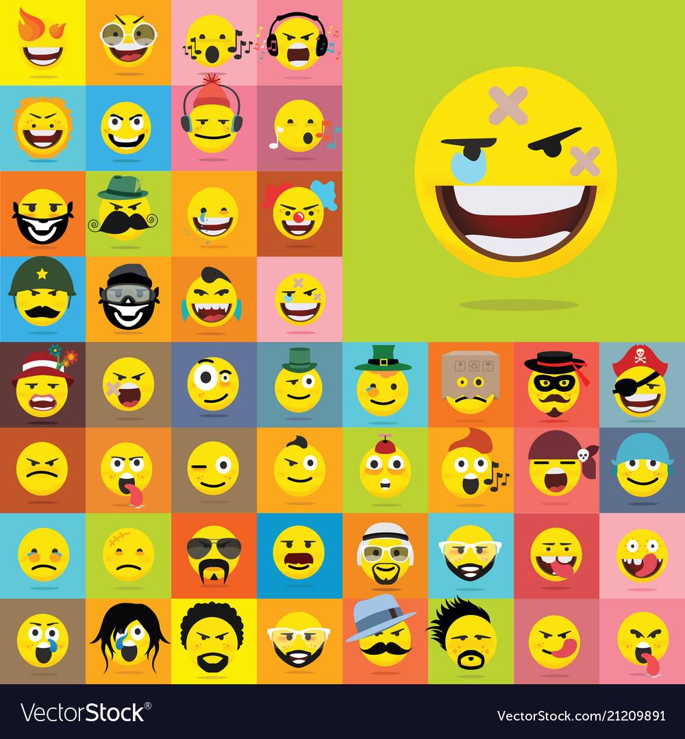 Set of emoticons set of emoji isolated