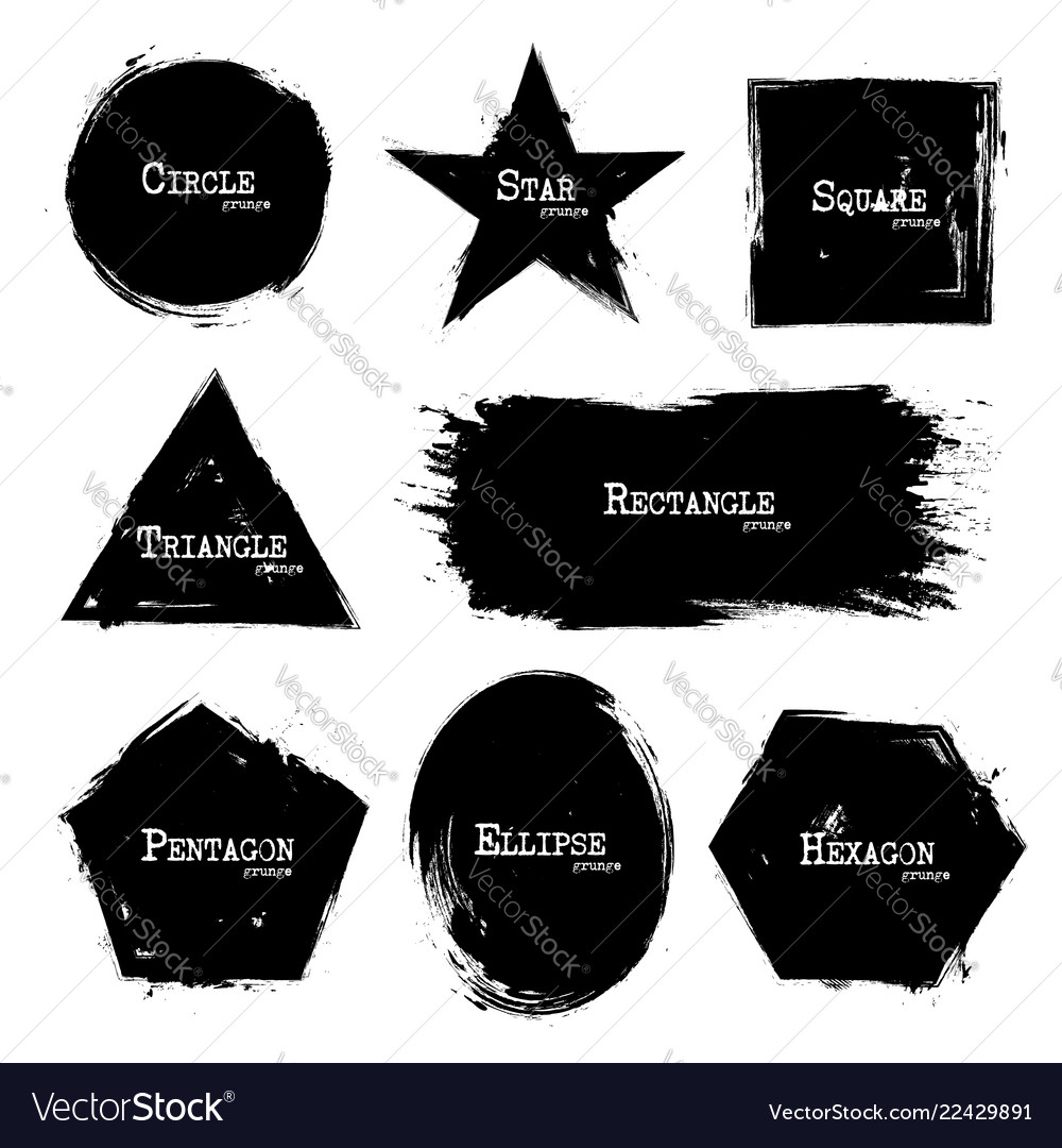 Set of geometry shapes grunge style
