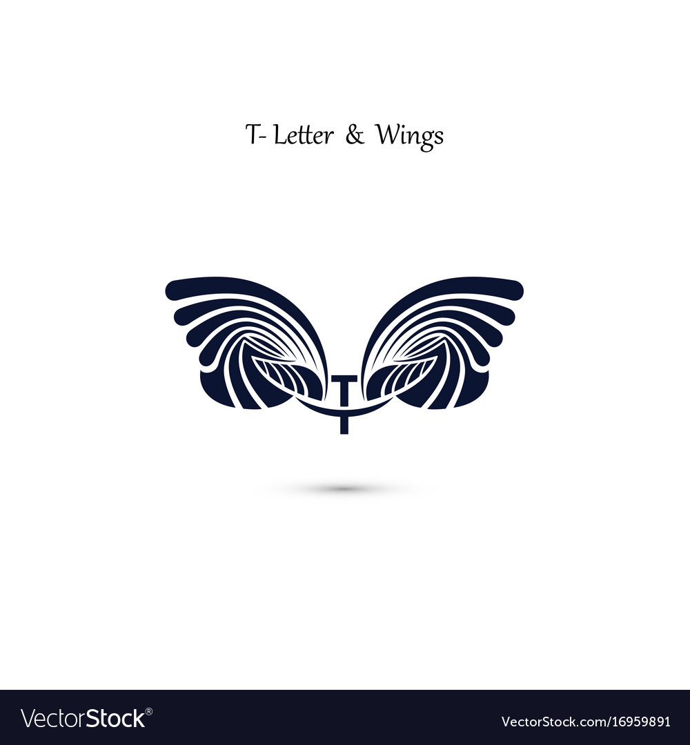 T letter sign and angel wings monogram wing logo