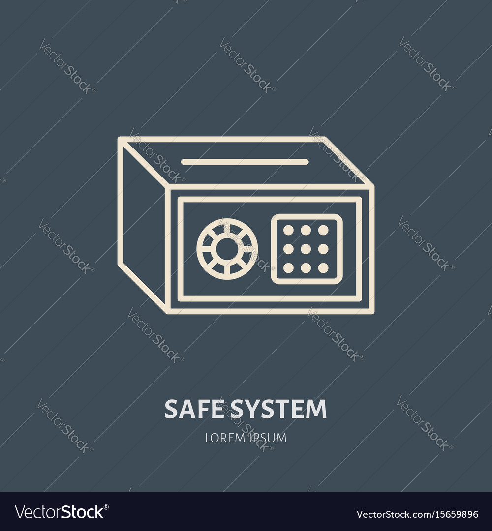 Cash safe flat line icons retail store vector image