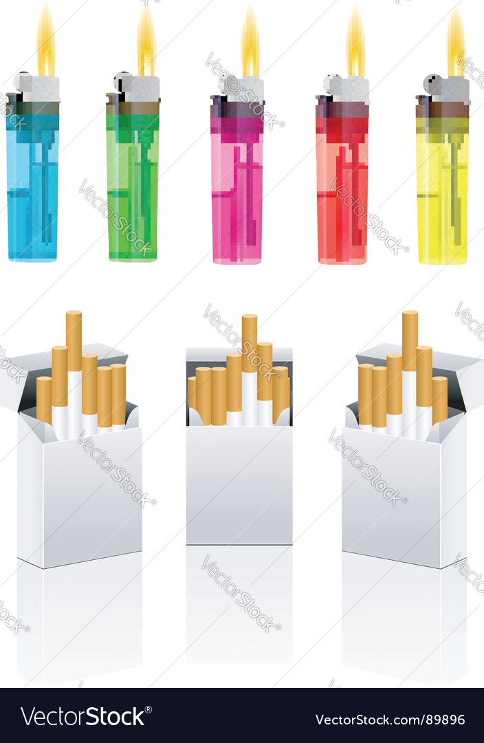 Cigarettes and cigarette lighter vector image