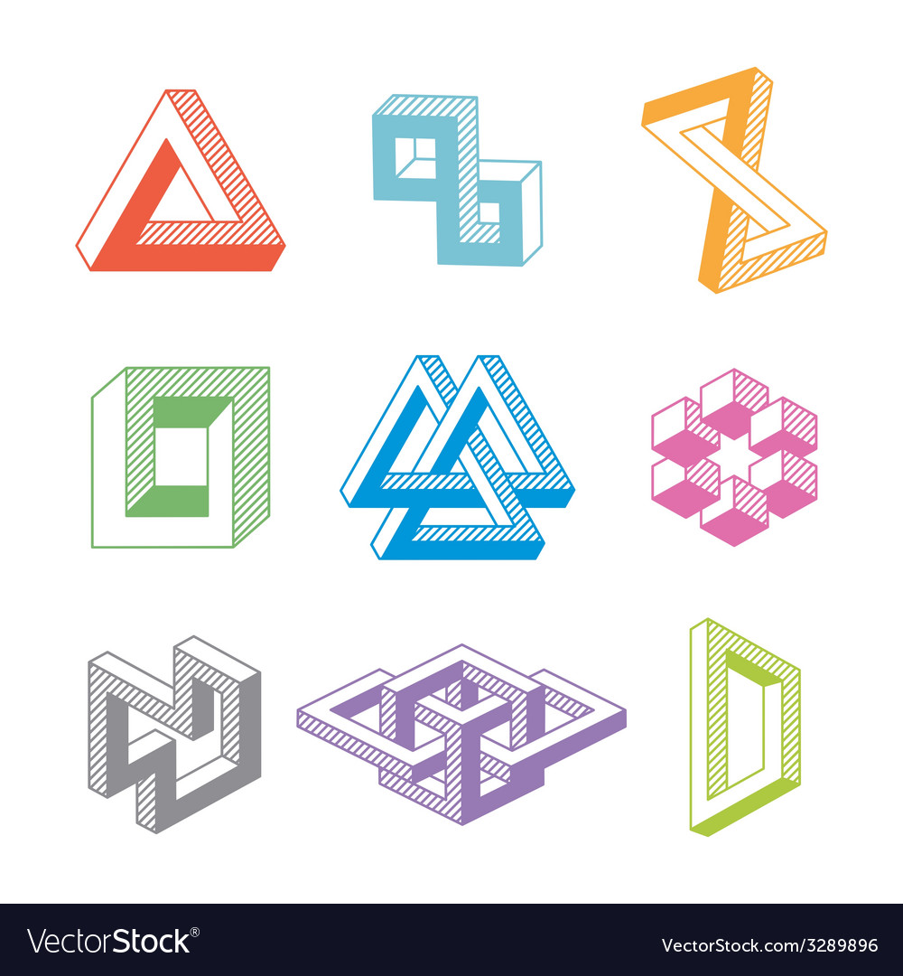 Colorful impossible geometric shapes