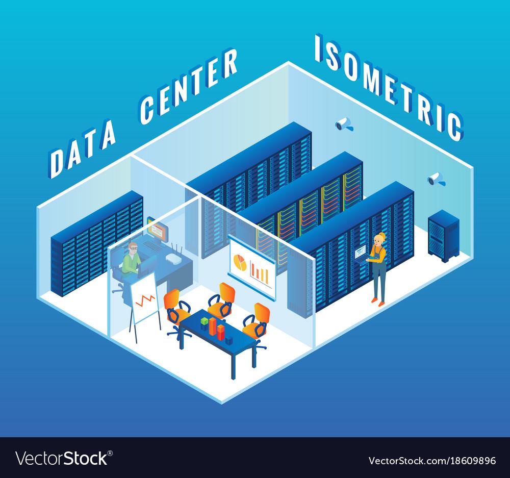 Data center cutaway interior flat isometric