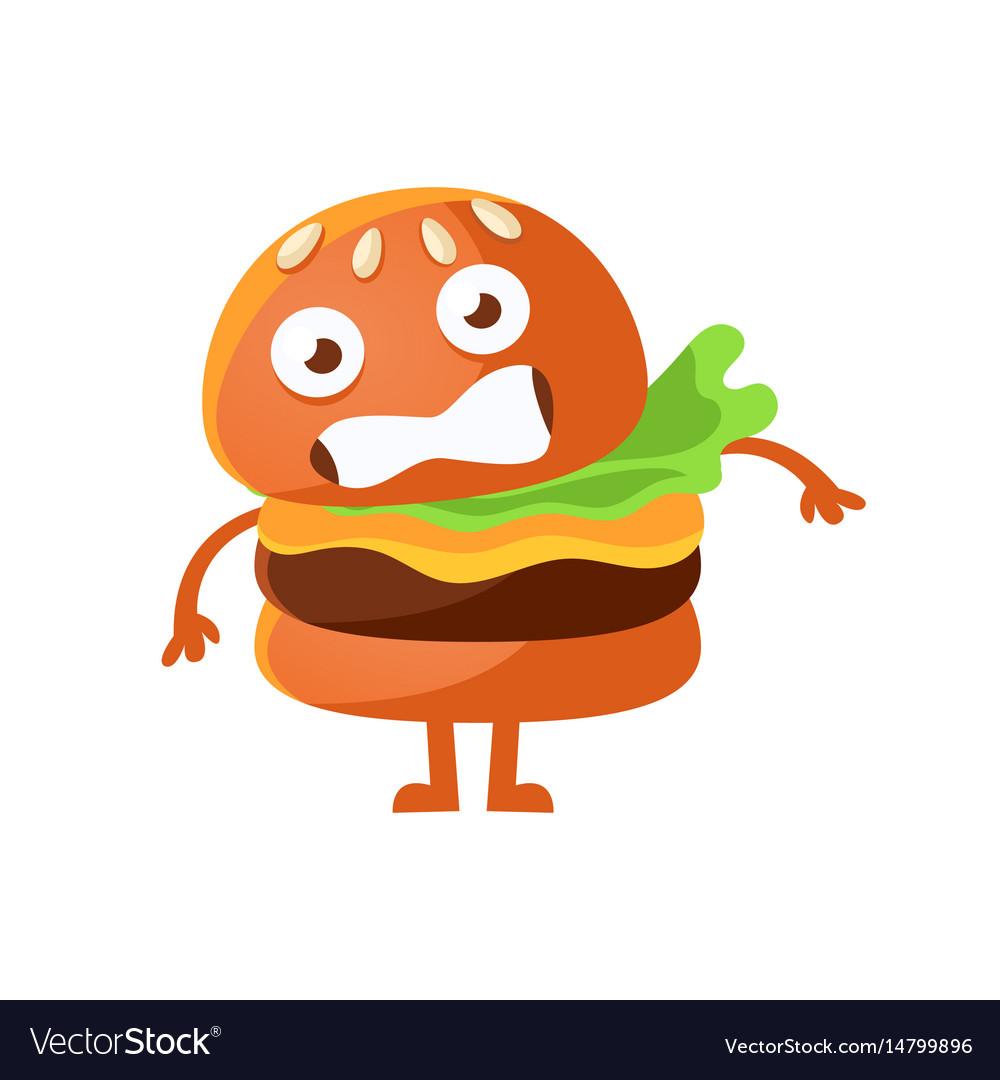 Frightened burger with big eyes cute cartoon fast