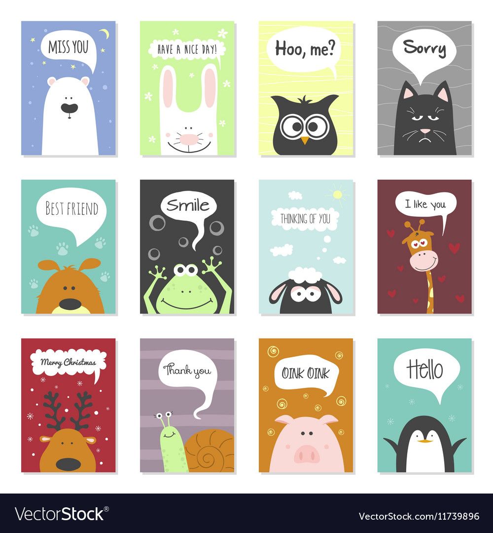 Greeting Cards Set Cute Animals Hand Royalty Free Vector