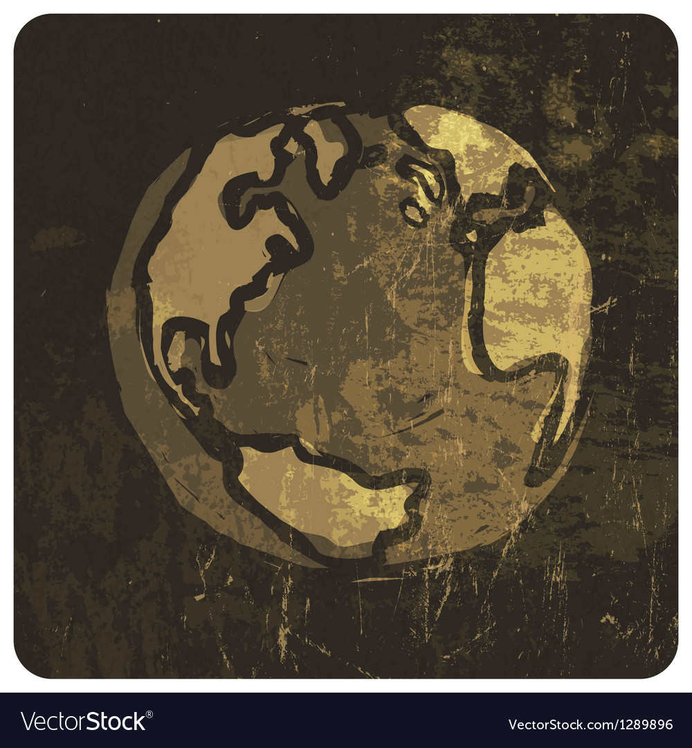Grunge earth symbol hand drawn vector image