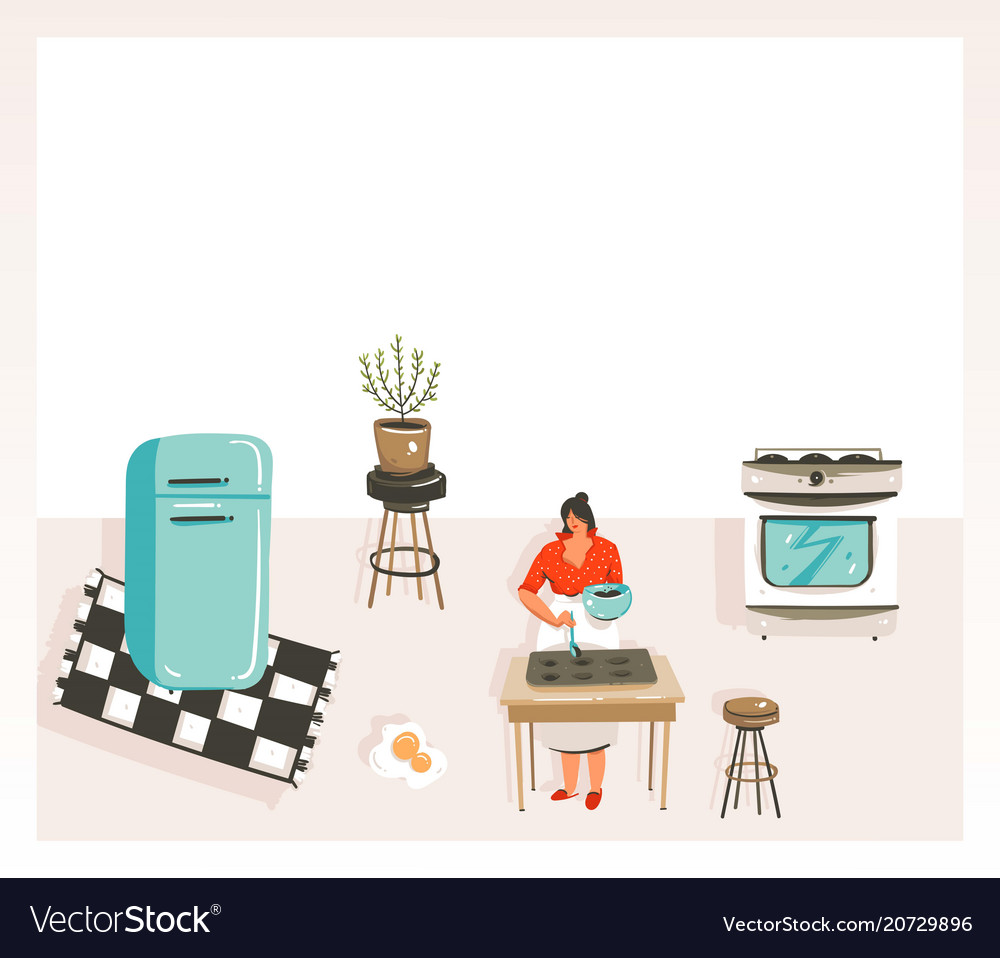 Hand drawn abstract modern cartoon cooking