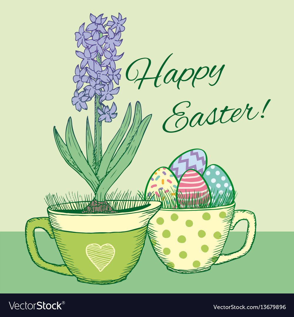 Hand drawn floral happy easter poster