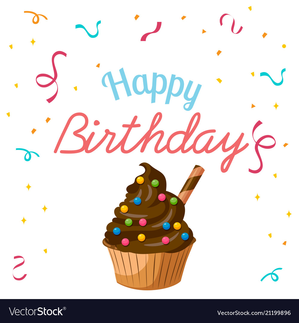 Happy birthday ribbon cup cake background i