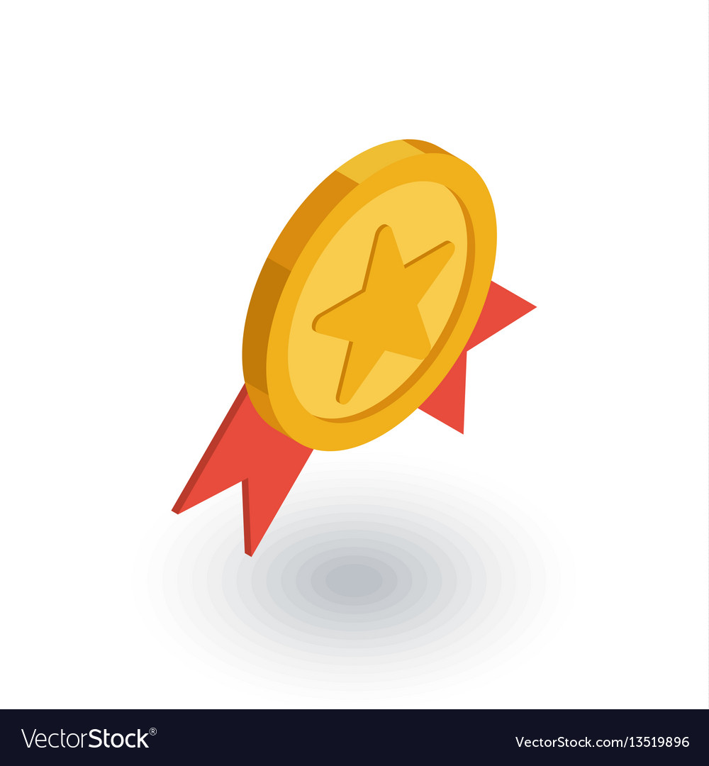Medal award isometric flat icon 3d vector image