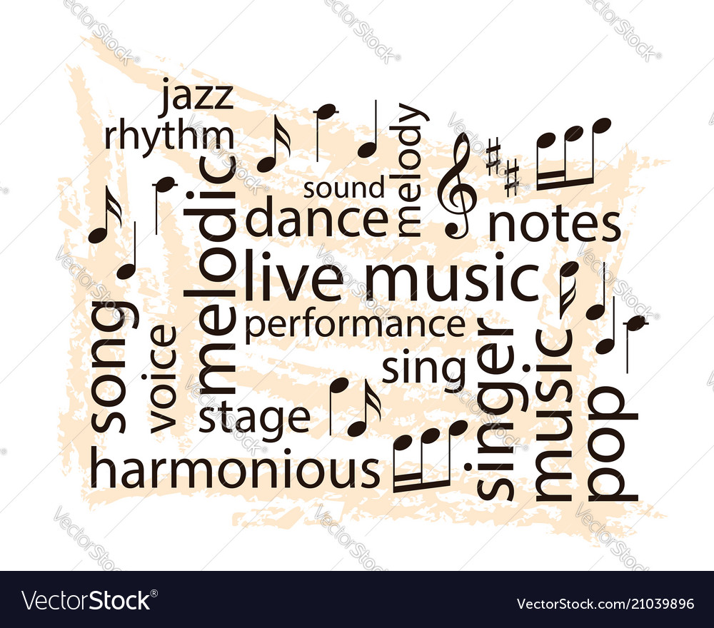 music word collage notes and words on grungy vector image