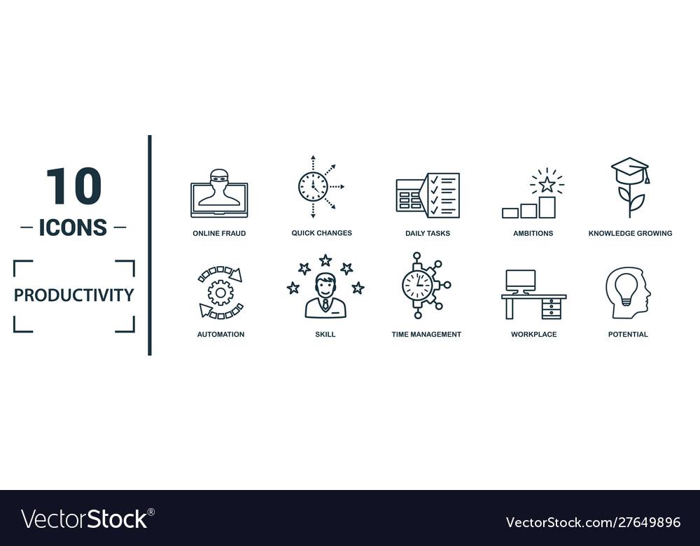 Productivity icon set include creative elements